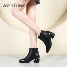 SOPHITINA Solid Fashion Womens Boots High Quality Genuine Leather Sexy Pointed Toe Round Heel Shoes Special Elegant PO224