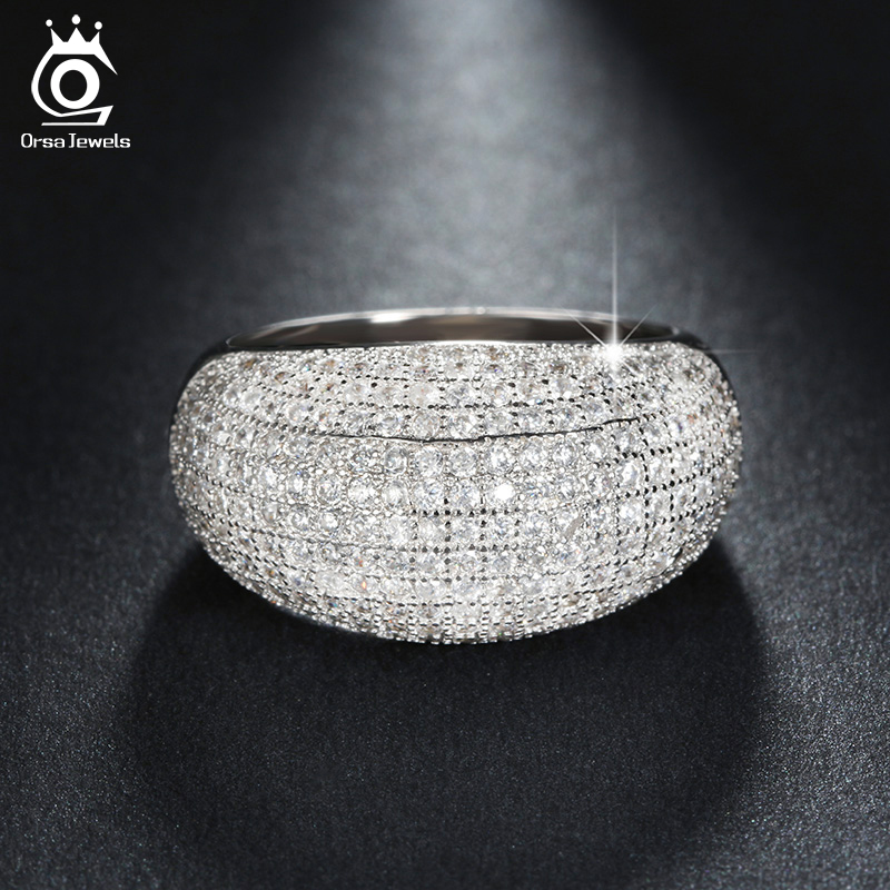 Luxury Platinum Plated Wedding Band Engagement CZ Ring Paved 196 Pieces AAA Austrian Crystal Fashion Jewelry