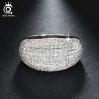 Luxury White Gold Plated Wedding Band Engagement CZ Ring Paved 196 Pieces AAA Austrian Crystal Fashion