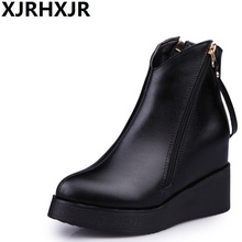 XJRHXJR Side Zipper Martin Boots Women Autumn Winter Shoes Fashion Hidden Heels Platform Ankle Boots Ladies Casual Shoes Black