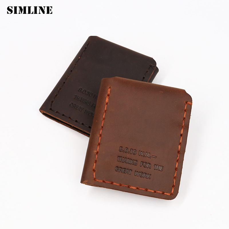 SIMLINE äkta läder plånbok män Det hemliga livet av Walter Mitty plånbok Vintage Handgjord Crazy Horse Real Cowhide Purse Short