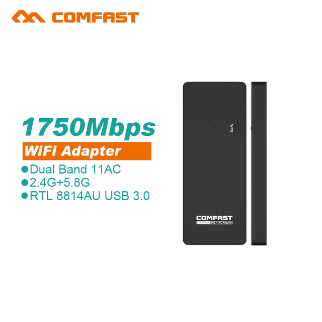 Comfast dual band 1750 mbps 5.8 ghz mini usb wifi adaptador wireless 802.11ac adaptador para usb wi-fi receptor de mesa cf-917 windows10