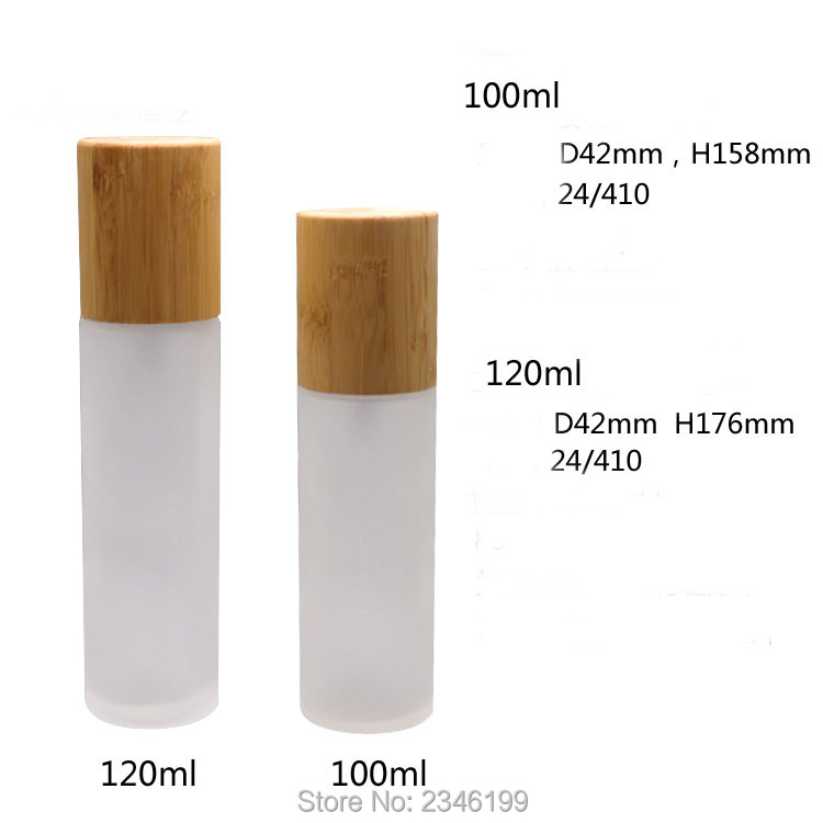 100ml 120ml 10pcs/lot Empty Frosted Glass Lotion Pump Bottle, DIY Matte Cosmetic Emulsion Container with Bamboo Cap, Makeup Tool 100 pcs lot of small glass vials with cork tops 1 ml tiny bottles little empty jars