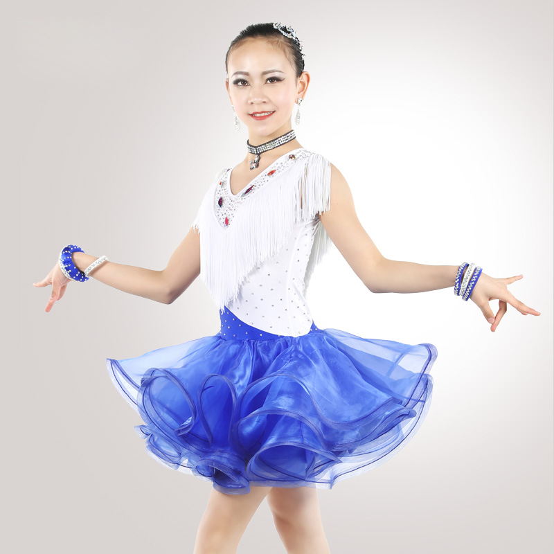 Popular Latin Dance Dress For Girls Competitive Sleeveless Tassel Flamenco Children Tango Chacha Rumba Samba Kid Dresses DNS1005
