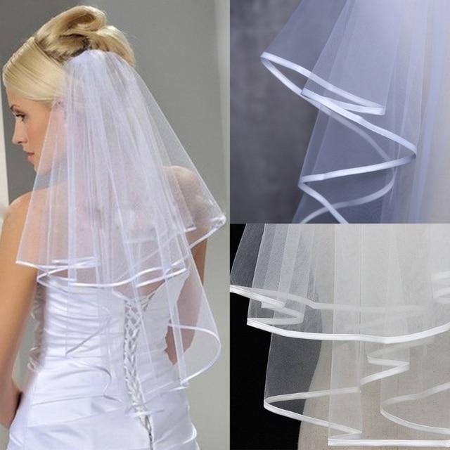 נשים חתונה שמלת צעיף שני Layersf טול Rbbon קצה כלה רעלות אבזרים