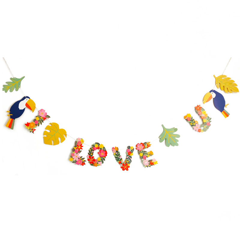 US $1 73 37% OFF Hawaiian Summer Party Decor Tropical Leaves Flowers Girls  Banner I LOVE YOU Aloha Garland Banner for Birthday Party Supplies-in