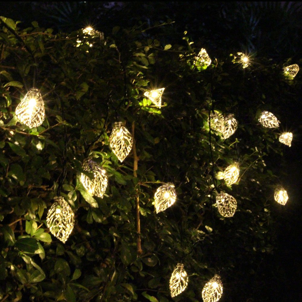 20 leds iron tree leaf solar charger string lights led night light lamp for holiday home party halloween christmas tree decor in lighting strings from