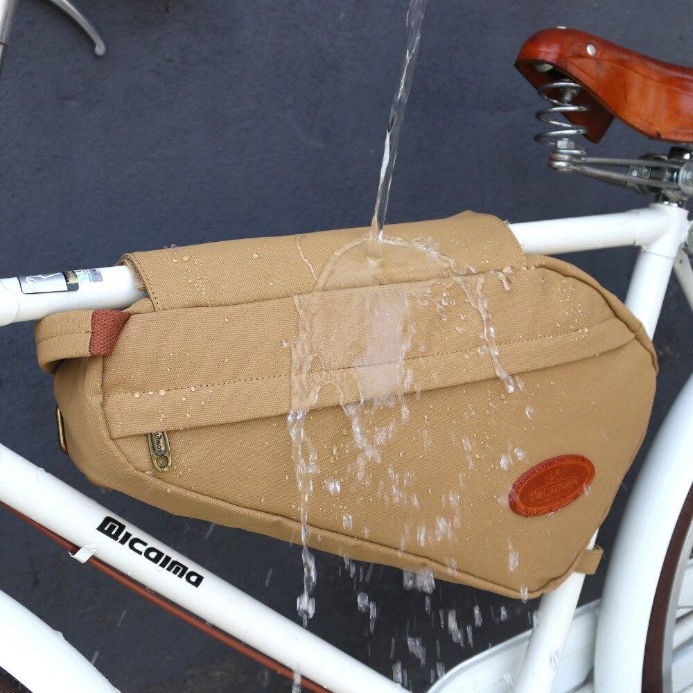 Tourbon Vintage sac de vélo cadre de vélo Tube Triangle sacs à bandoulière kaki toile cirée étanche banlieue accessoires de cyclisme - 5