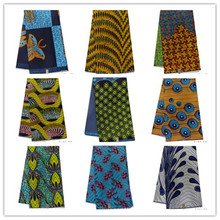 2019 New African Polyester Wax embroidered Ankara Fabric Material 100% 6Yards For Clothing Sewing 1401-36