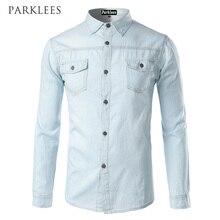 قميص أزرق جديد للرجال من الجينز قميص أنيق 2017 بجيوب مقلوبة قميص جينز بأكمام طويلة للرجال
