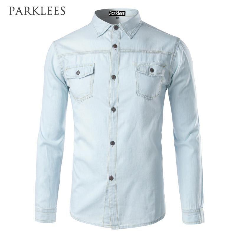 New Men Jeans Blue Shirt Chemise Homme 2017 Fashion Flip Pockets Mens Slim Fit Long Sleeve Denim Shirts Camisa Masculina