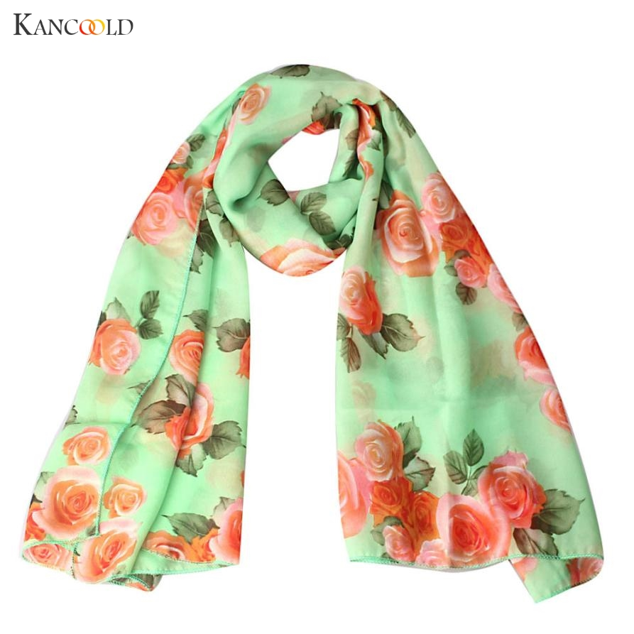 Newly Fashion Stylish Rose Print Womens Voile Long Stole   Scarves   Floral Shawl   Scarf     Wrap   Lady Shawl Chiffon   Scarf   Women No83