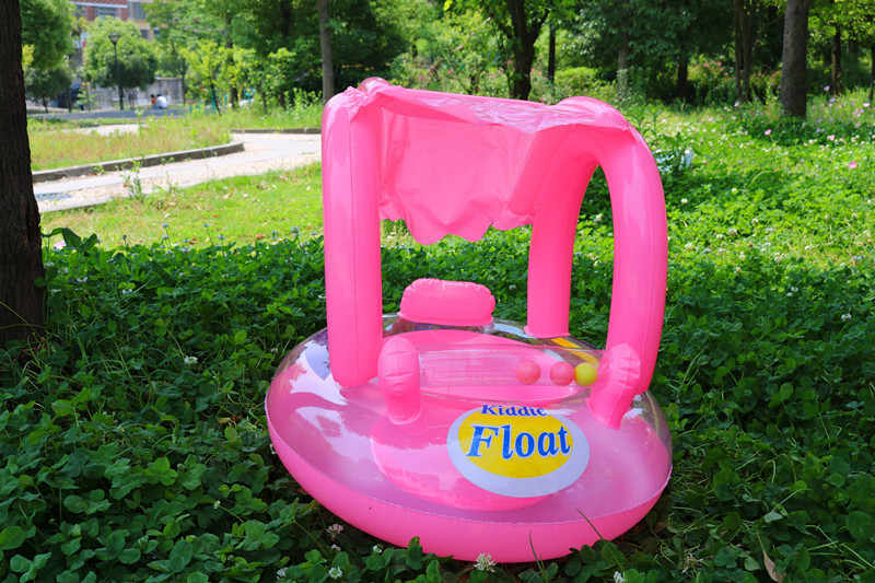 Asiento inflable Flotador para piscina para niños, juguete de diversión con agua para niños, anillo de natación circular para deportes al aire libre de 55x30cm para 0-3 años