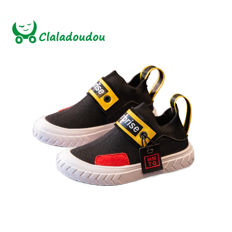 9ce63f1a65e Claladoudou16.5-23CM Brand Genuine Leather + Knitting Kids Boys Girls  Sneakers Fashion Patchwork