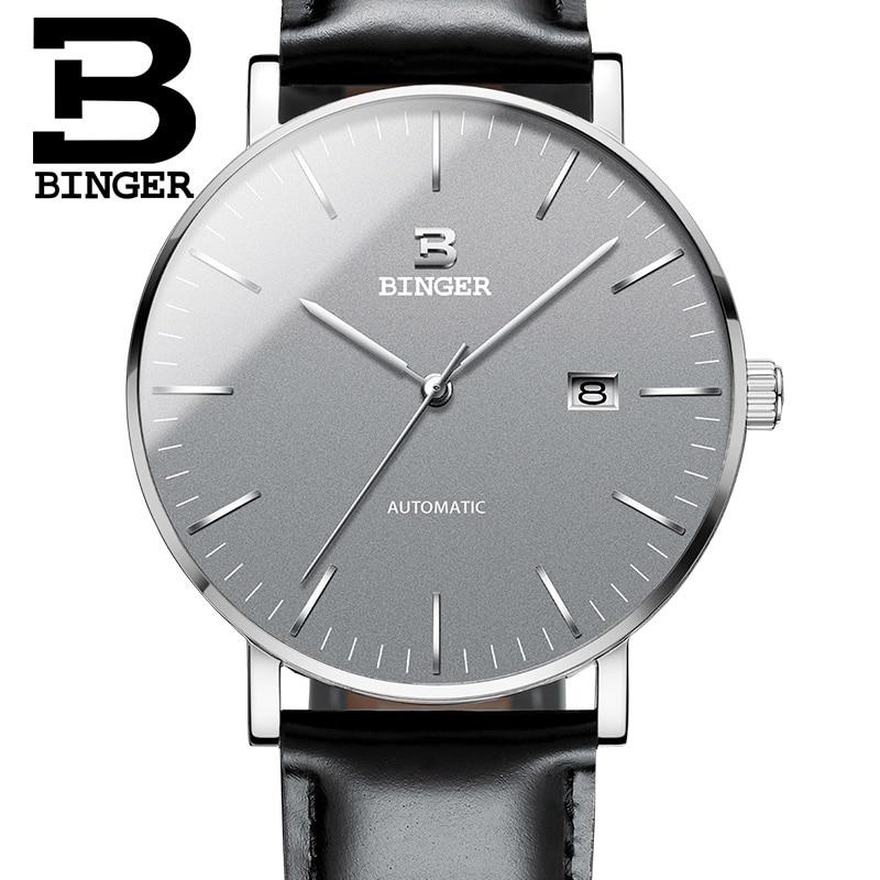 Szwajcaria BINGER zegarki mężczyźni luksusowa marka Relogio Masculino odporny na wodę ze stali nierdzewnej mechaniczne zegarki na rękę B 5081 w Zegarki mechaniczne od Zegarki na  Grupa 3