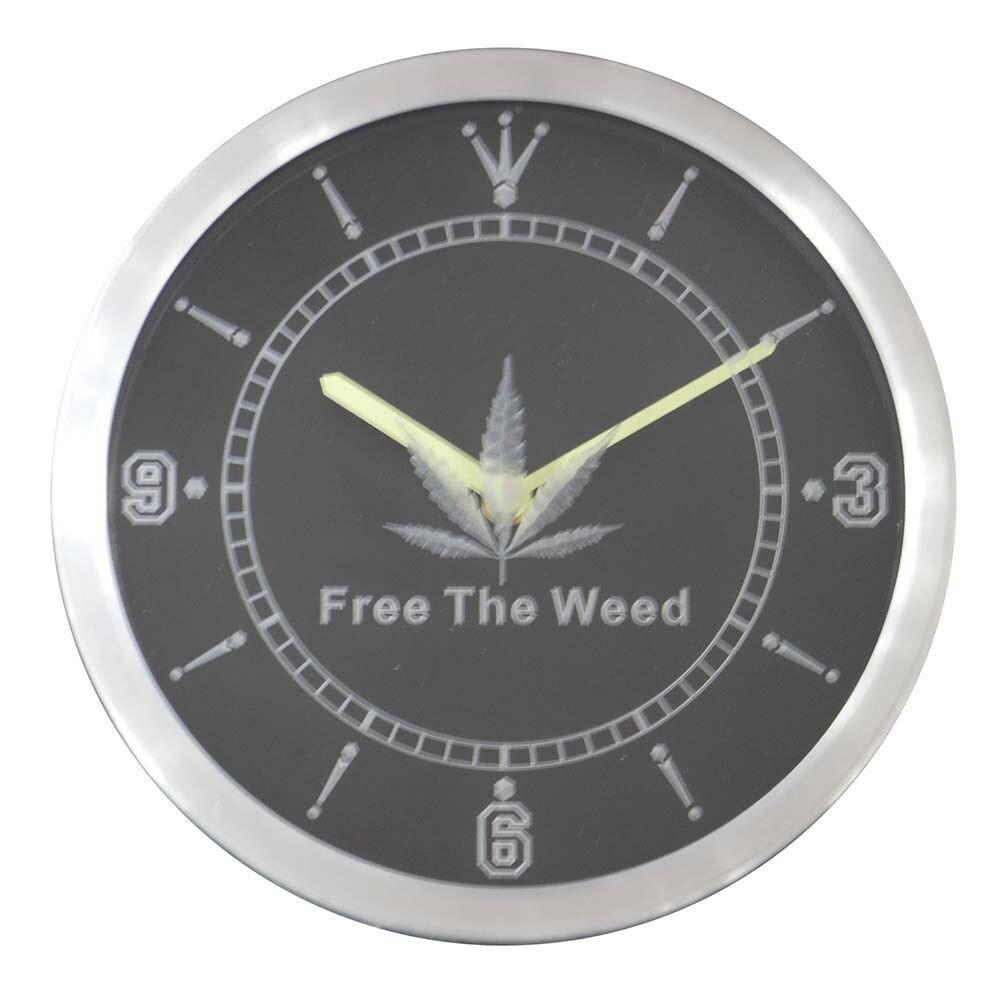 Nc0290 Free The Weed Hemp Bar Neon Sign Led Wall Clock In Wall
