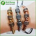 10pcs Macrame Bracelets,Rose Gold Micro Pave Black CZ Stoppers Beads Briading Macrame Bracelet For Men Jewelry Anil Arjandas