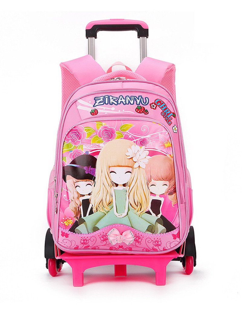 ФОТО 2017 Cartoon Design Children's School Backpacks Detachable Trolley Backpack For Girls Pretty Kids Bags Princess Style mochilas