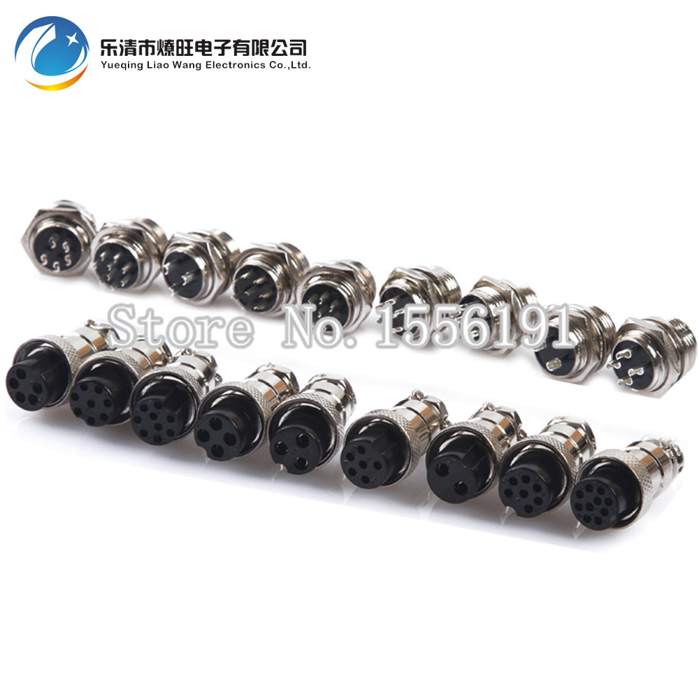 Free shipping 5 sets/kit 6 PIN 16mm GX16-6 Screw Aviation Connector Plug The aviation plug Cable connector Male and Female
