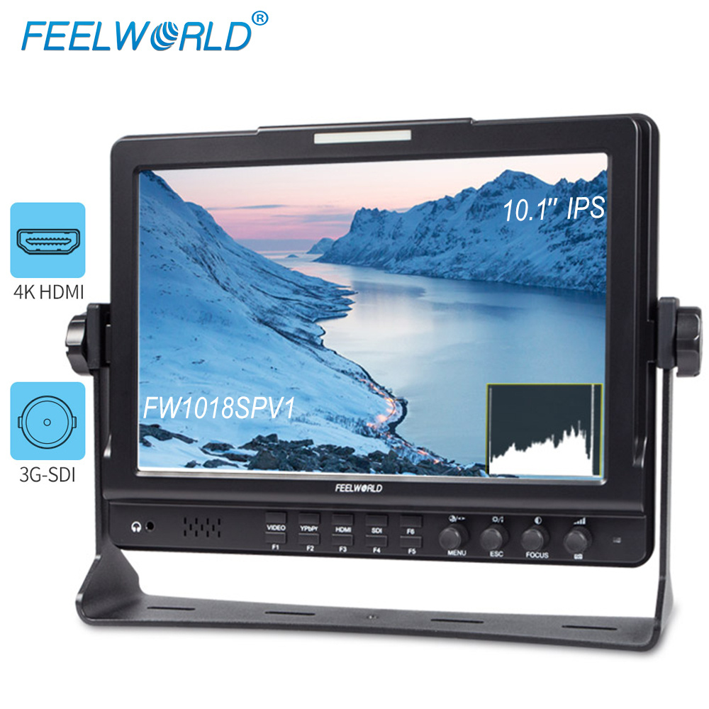 Feelworld FW1018SPV1 10.1 inch 3G SDI 4K HDMI Camera DSLR Field Monitor Full HD 1920x1200 LCD IPS Screen with Peaking Histogram feelworld f7s 7 inch sdi 4k hdmi on camera dslr field monitor full hd 1920x1200 aluminum housing small lcd ips external display