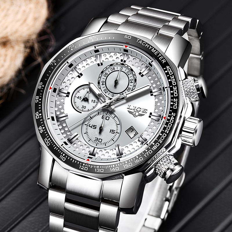 Relogio Masculino 2019 NEW LIGE Mens Watches Fashion Chronograph Watch Men Stainless Steel Waterproof Sport Watch Quartz Clock 1