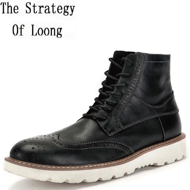 Men Spring  Autumn Full Grain Leather Ankle Boots Lace Up Rund Toe Fashion Short Boots New Arrival Real Leather Boots 0107 free shipping men s fashion mixed colors western ankle boots full grain leather england style motorcycle boots for men