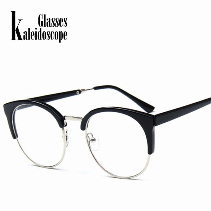 e737bb958d45c Kaleidoscope Glasses Women Cat Eye Glasses Frame Half Metal Cateyes  Spectacle frames Retro Round Myopic Eyewear