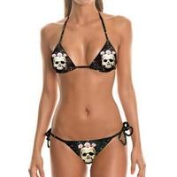 Vrouwen zomer sexy halter bikinis badmode zwarte skull gedrukt patroon gevlochten touw bh bandage bikini badpak