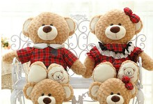a pair of big lovely plush teddy bear toys red check clothes brown teddy bear dolls gift dolls about 100cm