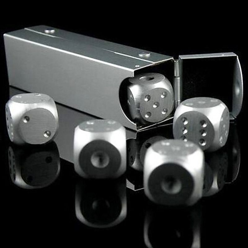 Aluminium Alloy Poker 5 Pcs Silver Color Solid Dominoes Metal Dice Game Portable Dice Poker Party