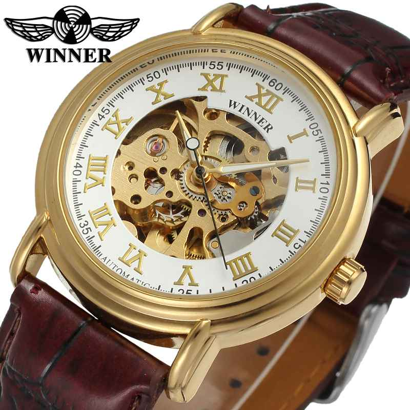 WINNER Retro Automatic Mechanical Watch Brown Leather Strap Golden Bezel Skeleton Dial Roman Number Classic Style Wristwatch coupon for wholesale buyer price good quality new bronze retro vintage classic arabic number mechanical pocket watch with chain