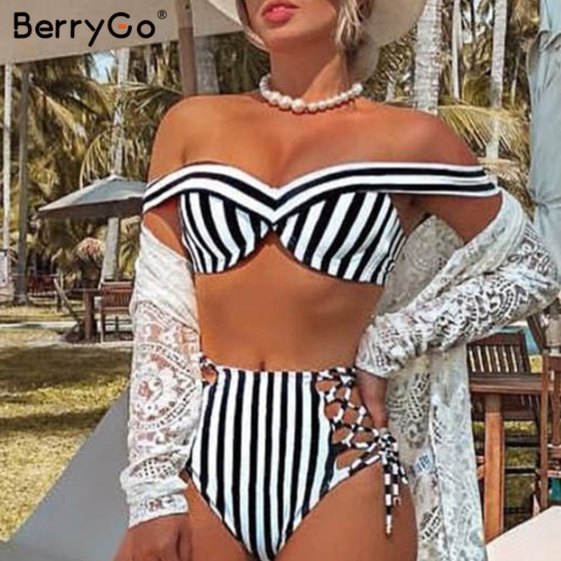 BerryGo Sexy striped two pieces women Bikini sets Push up swimwear bathers swimsuit High waist beach bikinis mujer bathing suit