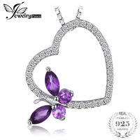Jewelrypalace бабочка сердце 0.7ct Природные Фиолетовый аметист белый топаз кулон 925 стерлингов Серебряные ювелирные изделия не включает цепь