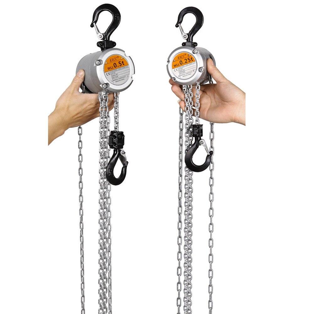 KACC Mini Palan À Chaîne À Main Crochet Mont 0.25/0.5 Tonnes Capacité 3 M Ascenseur CE Certificat Portable Manuel Levier bloc De Levage