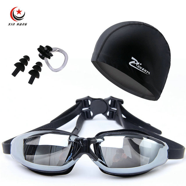 7ac40a2516f8 Un conjunto de 3 piezas para hombre profesional miopía gafas Natación PU  gorras mujeres impermeable Anti niebla protección UV natación sombreros