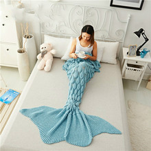 Mermaid Tail Blanket Yarn Knitted Handmade Crochet Mermaid Blanket Kids Throw Bed Wrap Super Soft Sleeping Bed 1PCS/Lot winter sleeping bag bed throw wrap mermaid blanket