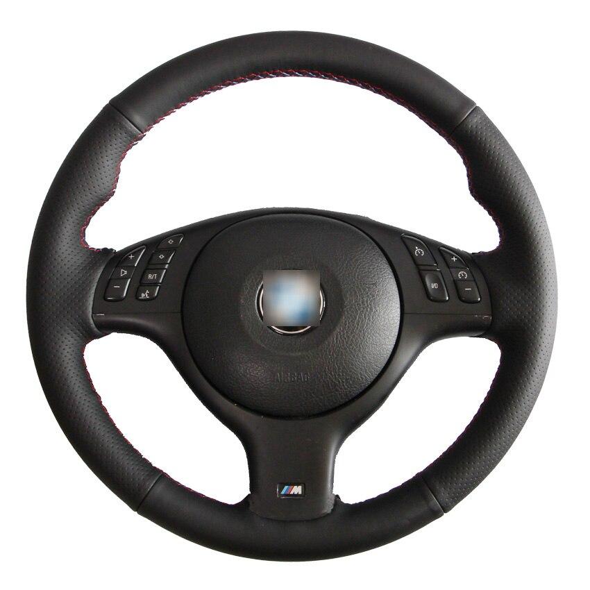 Noir En Cuir Du Volant cousu Main Couverture pour BMW E46 E39 330i 540i 525i 530i 330Ci M3 2001-2003