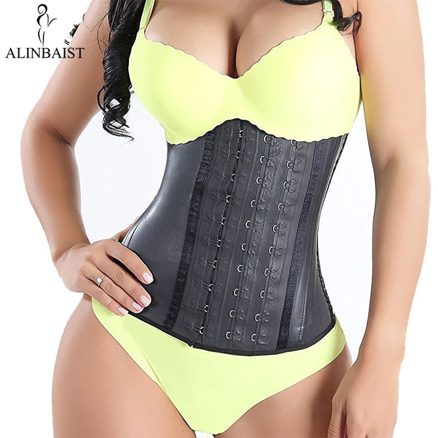 Women's Shapewear Extra Strong Latex Waist Trainer Workout  Hourglass Belt Waist Cincher Trimmer Long Torso Fajas 9 Steel Bone-in Waist Cinchers from Underwear & Sleepwears on AliExpress