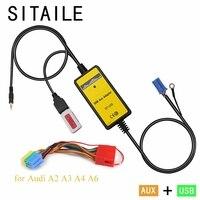 SITAILE Adaptador de coche MP3 música reproductor de CD máquina de cambio para audi A2 A3 A4 A6 Interfaz 8PIN USB Interfaz AUX car styling kit