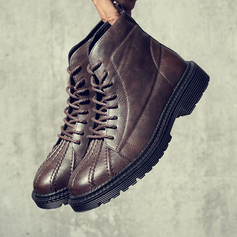 Korean fashion new shell shoes mens boots big head  dress