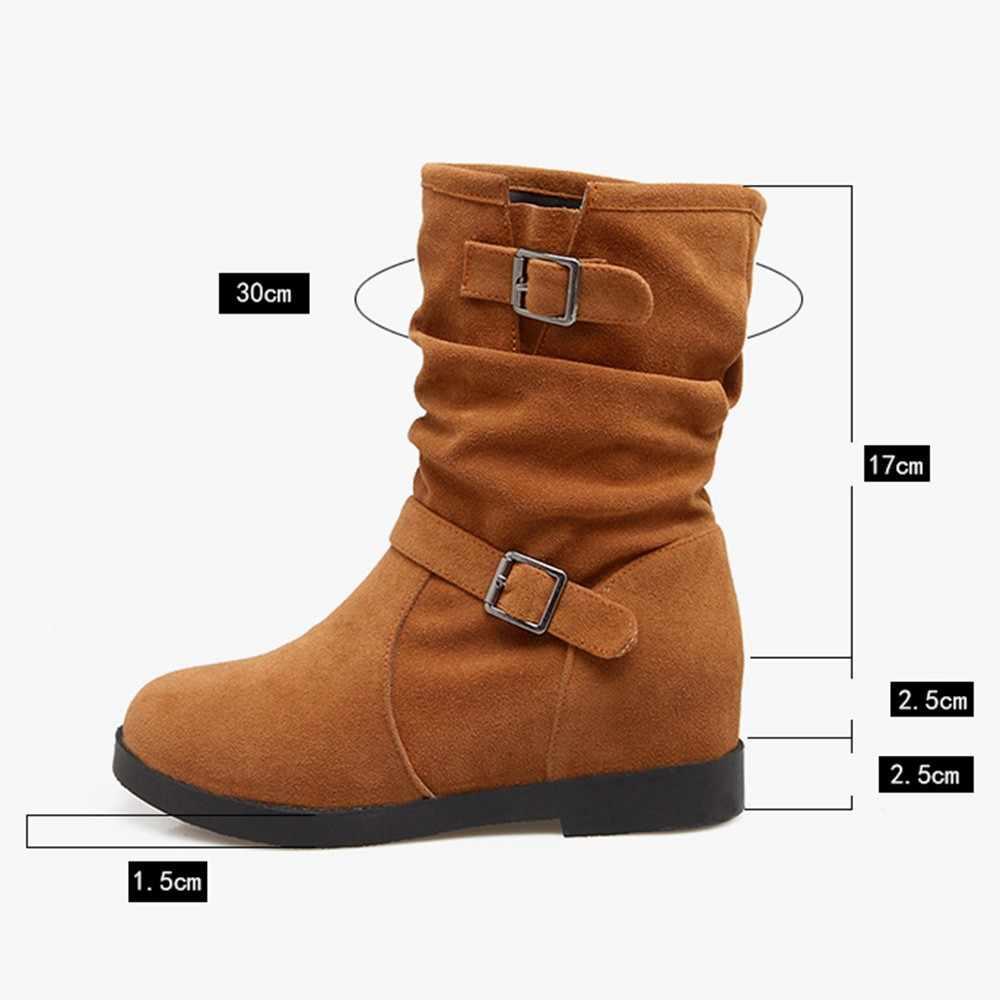 Moda Bayan Botları Sıcak Katı Artırmak Metal Retro Ayak Bileği Martin Çizmeler Yuvarlak Ayak Ayakkabı Kadın zapatos de mujer Artı Boyutu 35 ~ 43