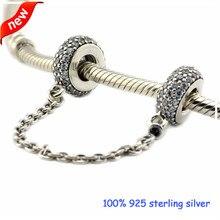 Se adapta a pandora pulseras pavimenta inspiración cadena de seguridad de bolas de plata 2016 nuevo 100% 925 plata esterlina encantos de la joyería diy 08s016