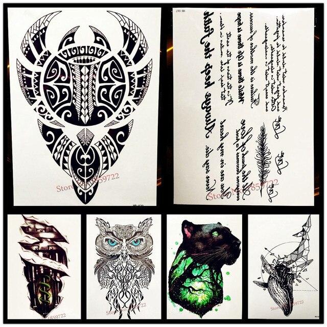 25 Estilo Impermeable Negro Totem Tatuaje Para Hombres Mujeres Falso