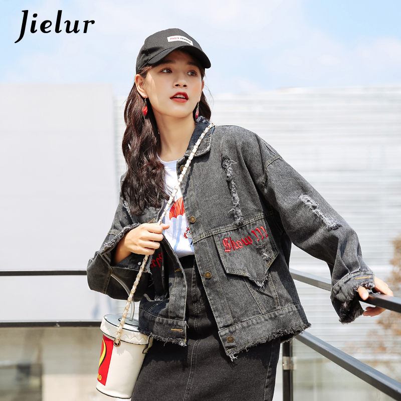 Jielur Autumn Hole Female Jacket Pockets Korean Streetwear Winter Denim Solid Color Lady Bomber Jean Coat Dropship