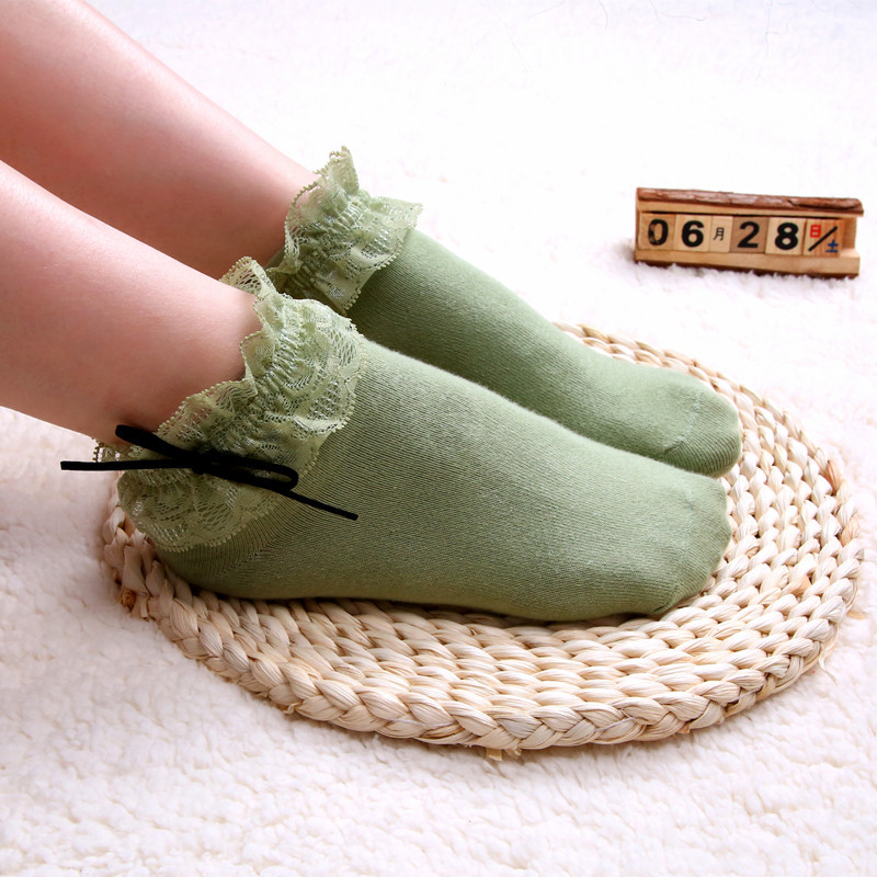 New Japanese Princess socks bow lace lace socks women socks combed cotton cute Sen socks manufacturers