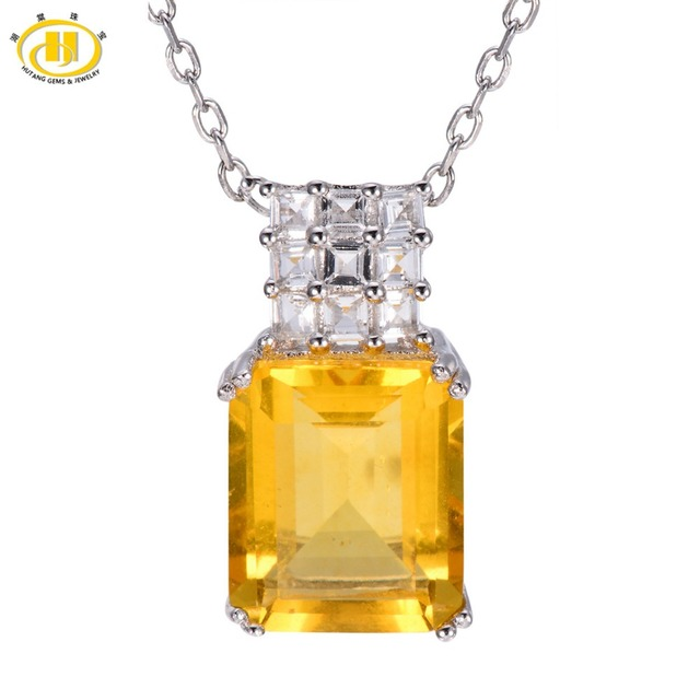 Hutang 7.77ct Natural Yellow Fluorite & White Topaz Pendant Solid 925 Sterling Silver Necklace Emerald cut Gemstone For Women's