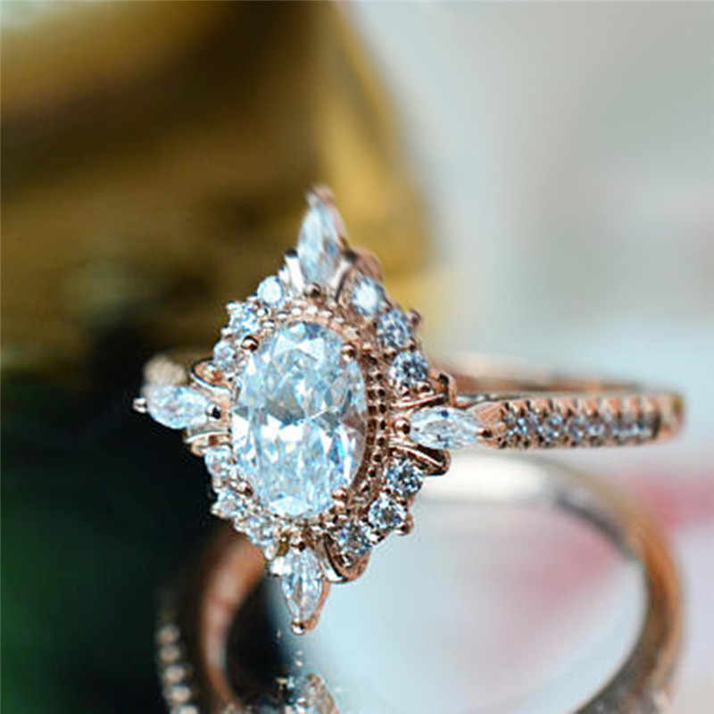 ROMAD Vintage Crystal Rings for Women Magic Mirror Retro Rings with Gift Box Rose Gold Finger Ring Female Wedding Jewelry R3