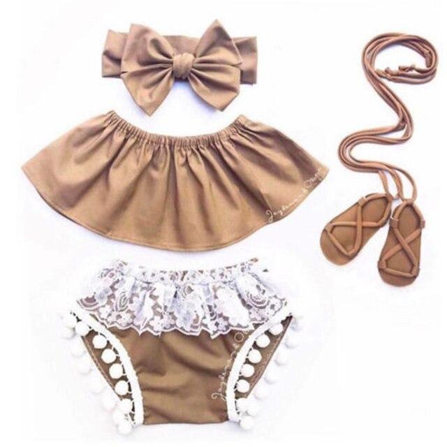 קיץ 3 ילדי אופנה ילדה סט חמוד בגדי תינוקת יח'\סט מכתף צמרות + מכנסיים מכנסיים קצרים ציצית תחרה חמה בגדי תינוקות בנות