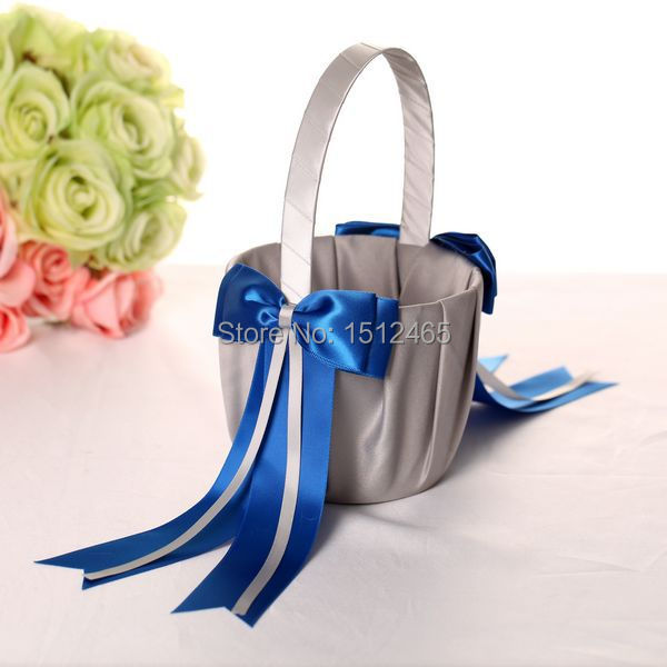 Silver Gray And Royal Blue Bowknot Satin Wedding Flower Girl Basket
