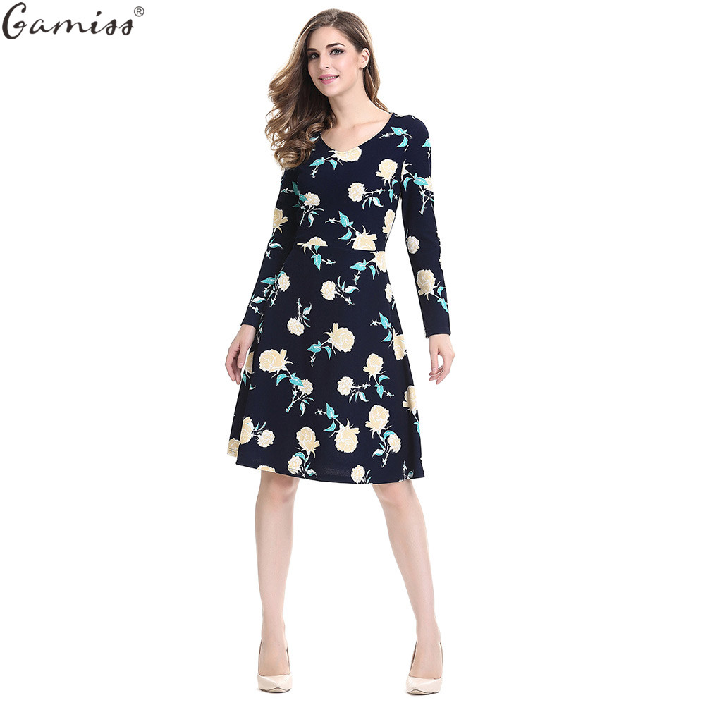 Gamiss Women Floral Dress Retro Rockabilly Elegant Allover Floral Print Long  Sleeve Bodycon Plus Size Dress Party Female Vestido-in Dresses from Women s  ... 77542cd7be3a
